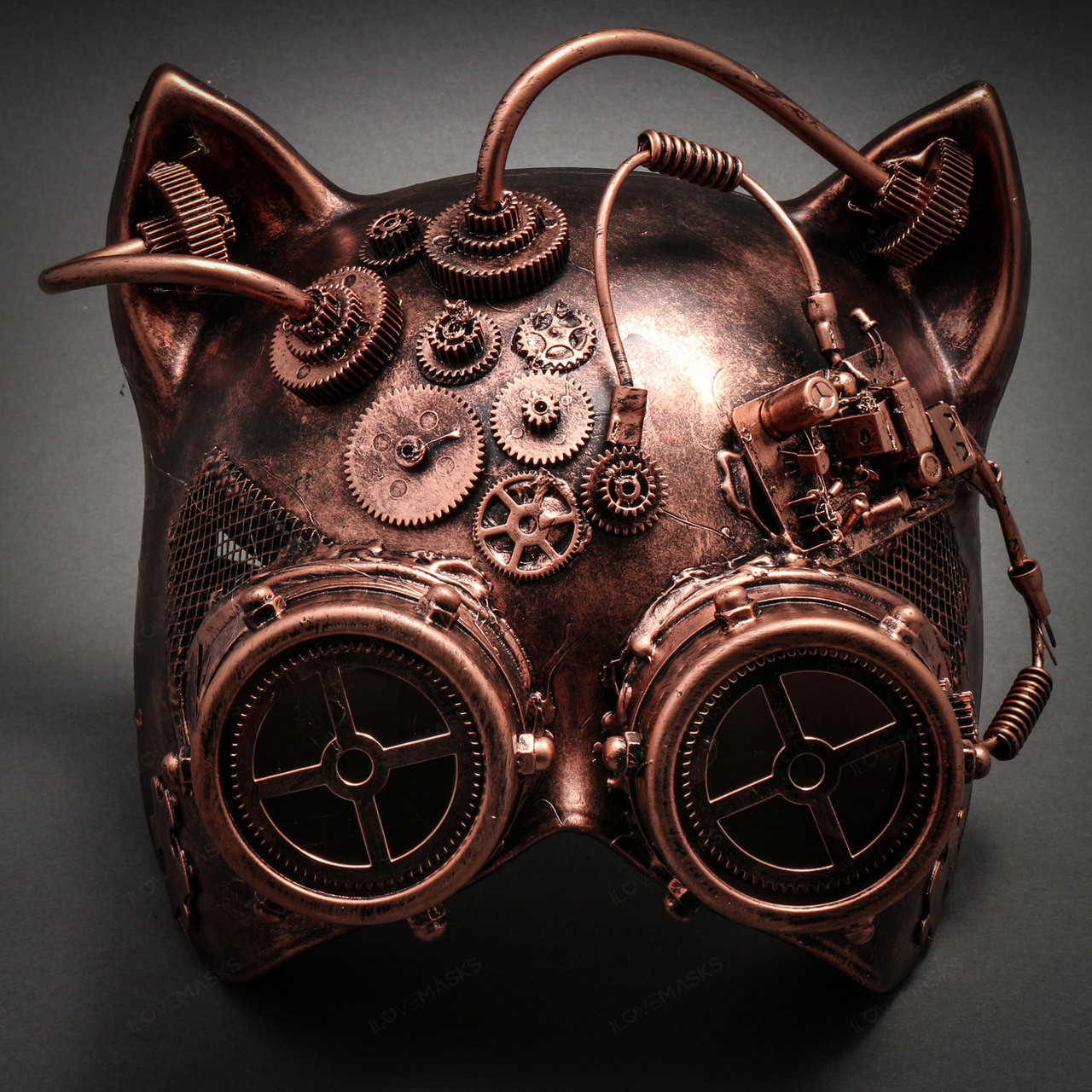 e3e1410431 Metallic Steampunk Goggles Venetian Gatto Cat Mask Masquerade - Copper