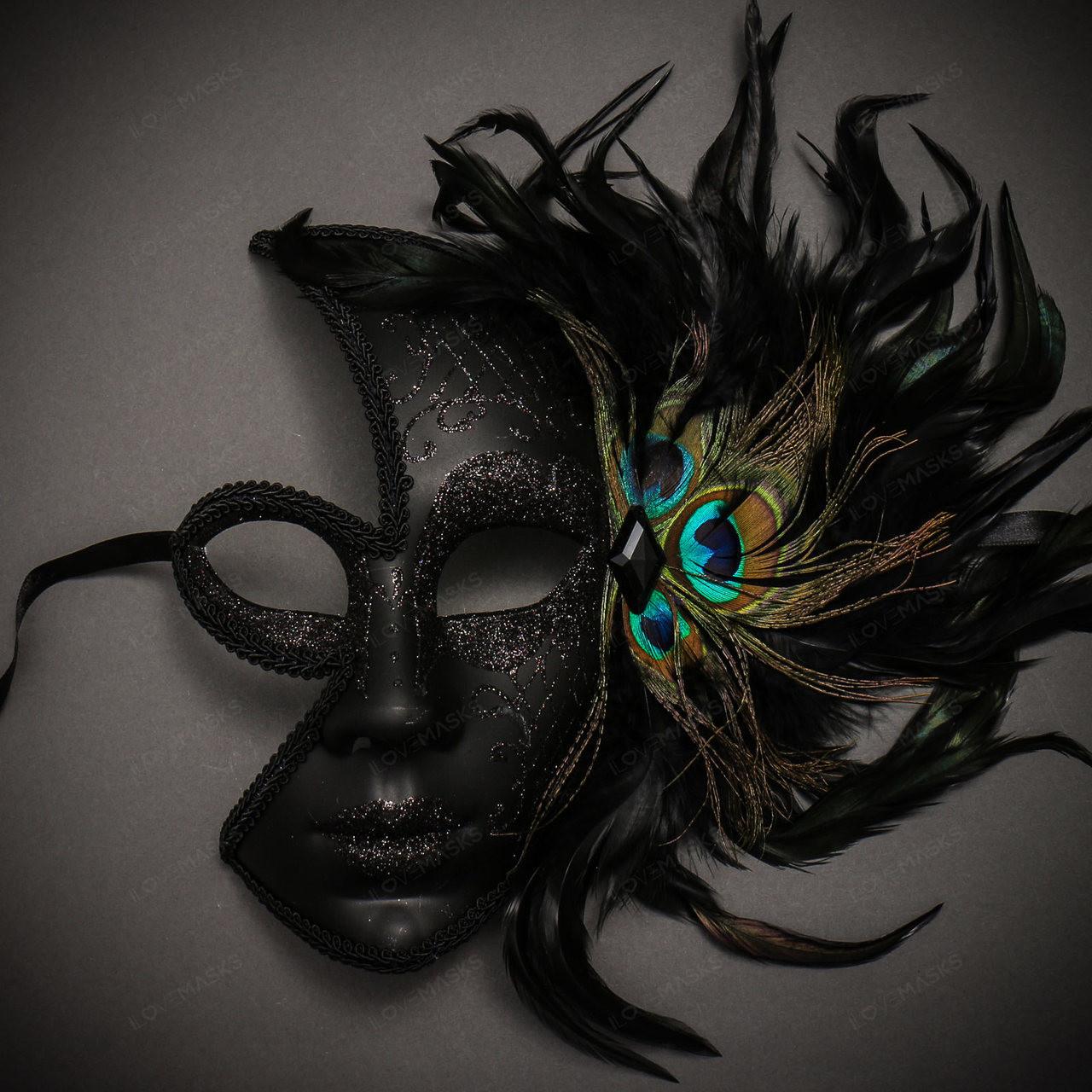 Womens Peacock Feather Full Half-Eye Venetian Mard Gras Masquerade Mask