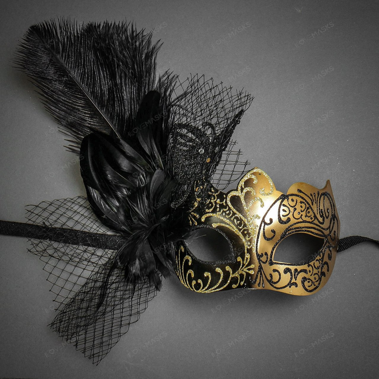 a5a91da9af112 Elegant Sexy Butterfly Lace Feather Women Party Mask Masquerade Black Gold