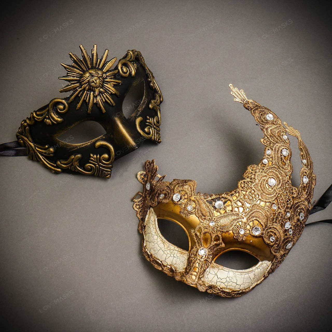 Men /& Women Venetian Masquerade Masks Black Gold Party Mask Costume for Couple