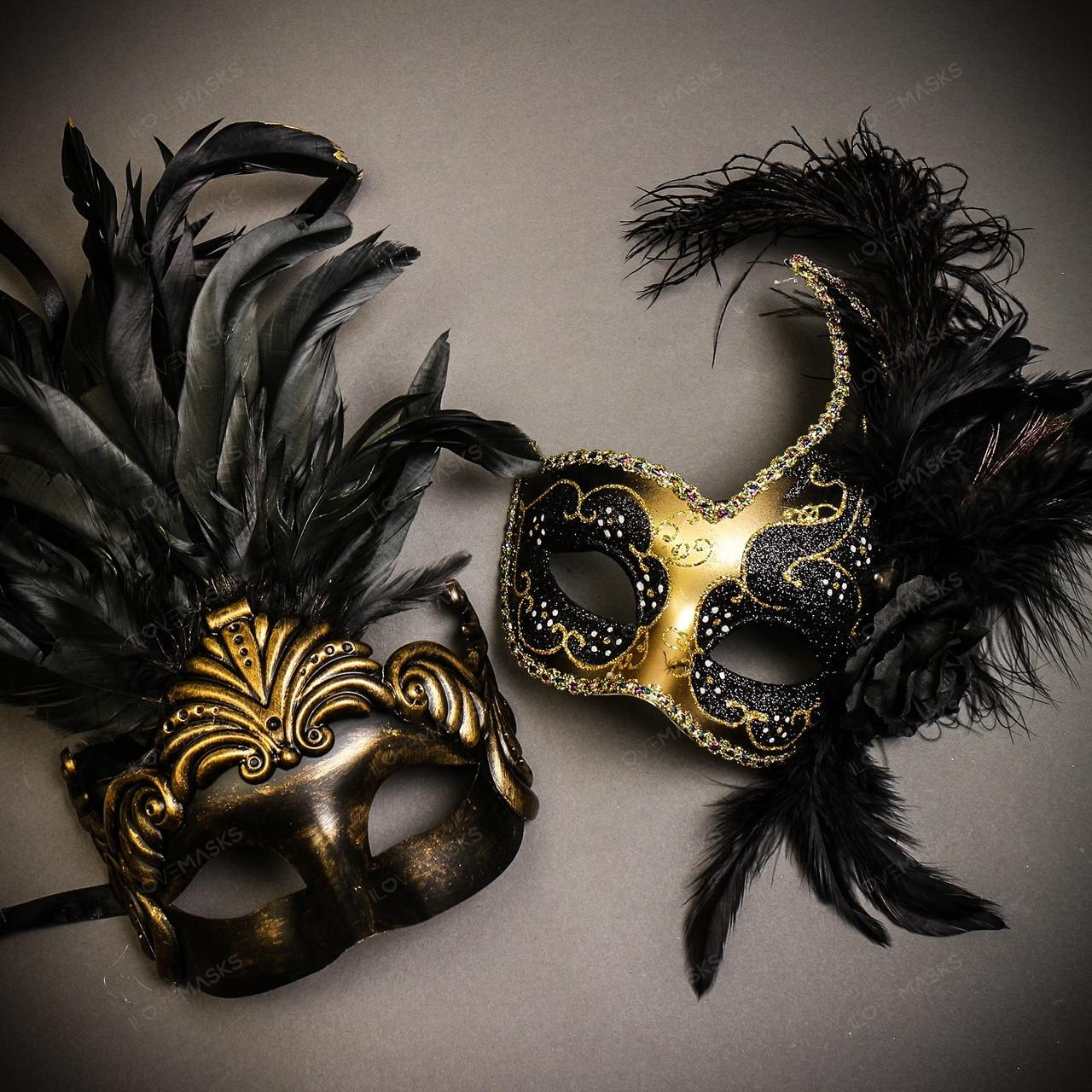 Men /& Women Party Couple Masks Set Feather Masquerade Prom Costume Mask Black