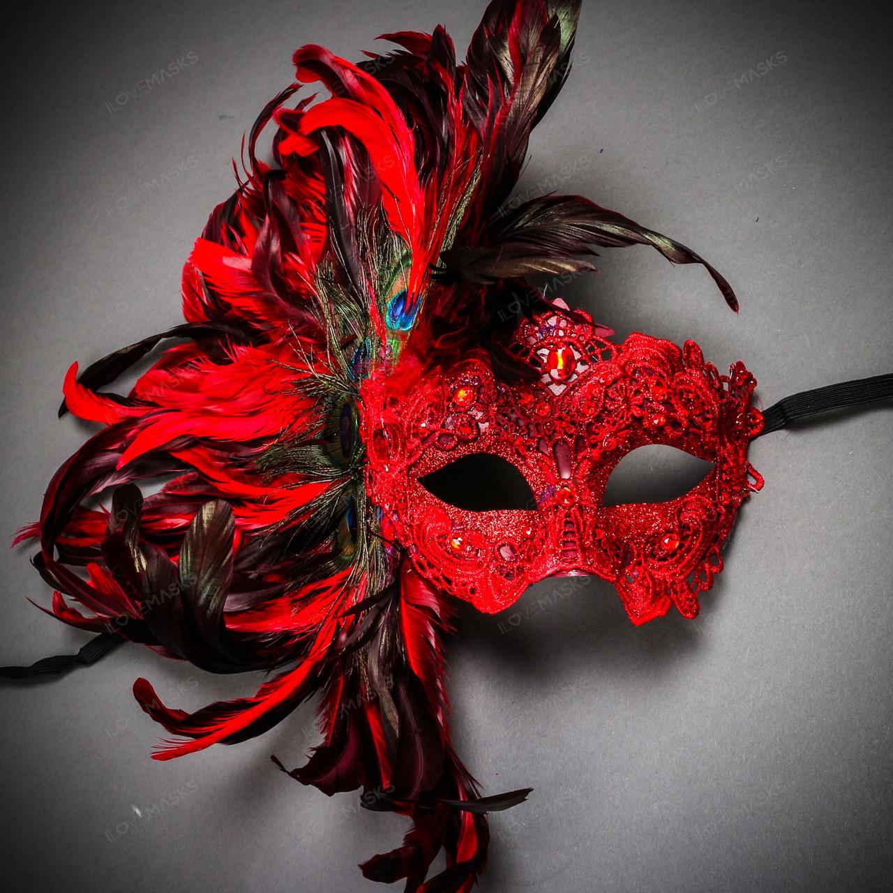 Red Side Feather Venice Carnival Masquerade Venetian Mardi Gras Women Eye Mask