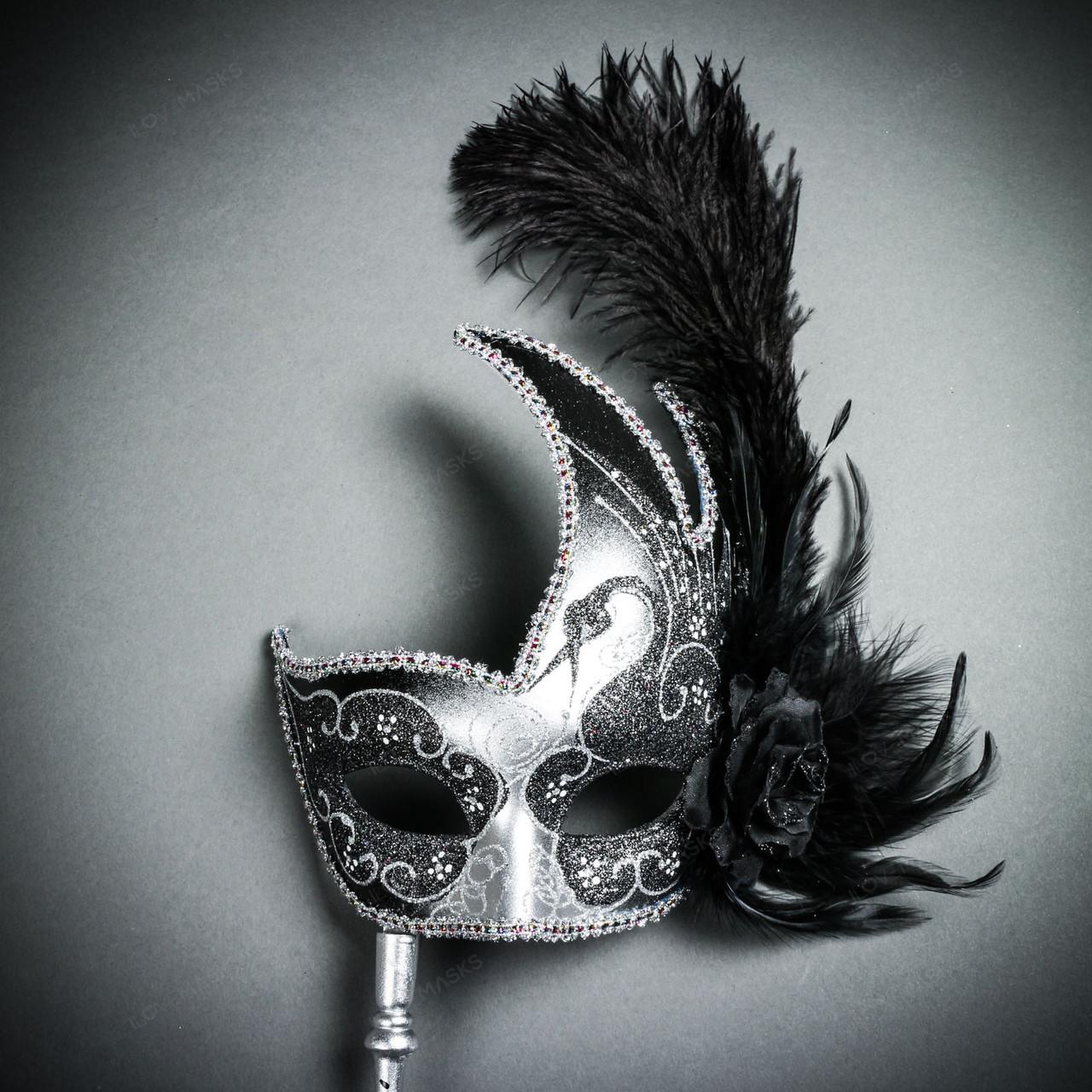Handheld Masquerade Feather Mask