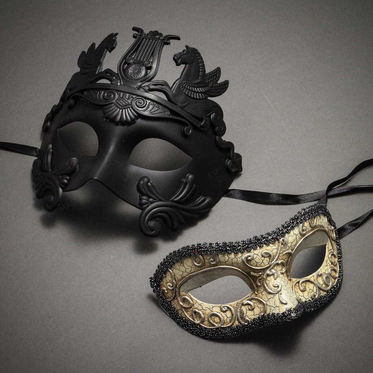 Roman Greek WARRIOR Emperor Venetian Masquerade Ball Party Mask Men Black Silver