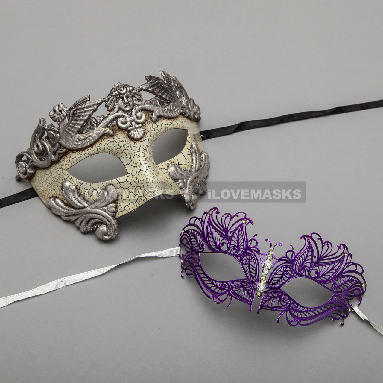 Purple SIlver Men/'s Venetian Mask Masquerade Laser Cut Mardi Gras Wedding Prom
