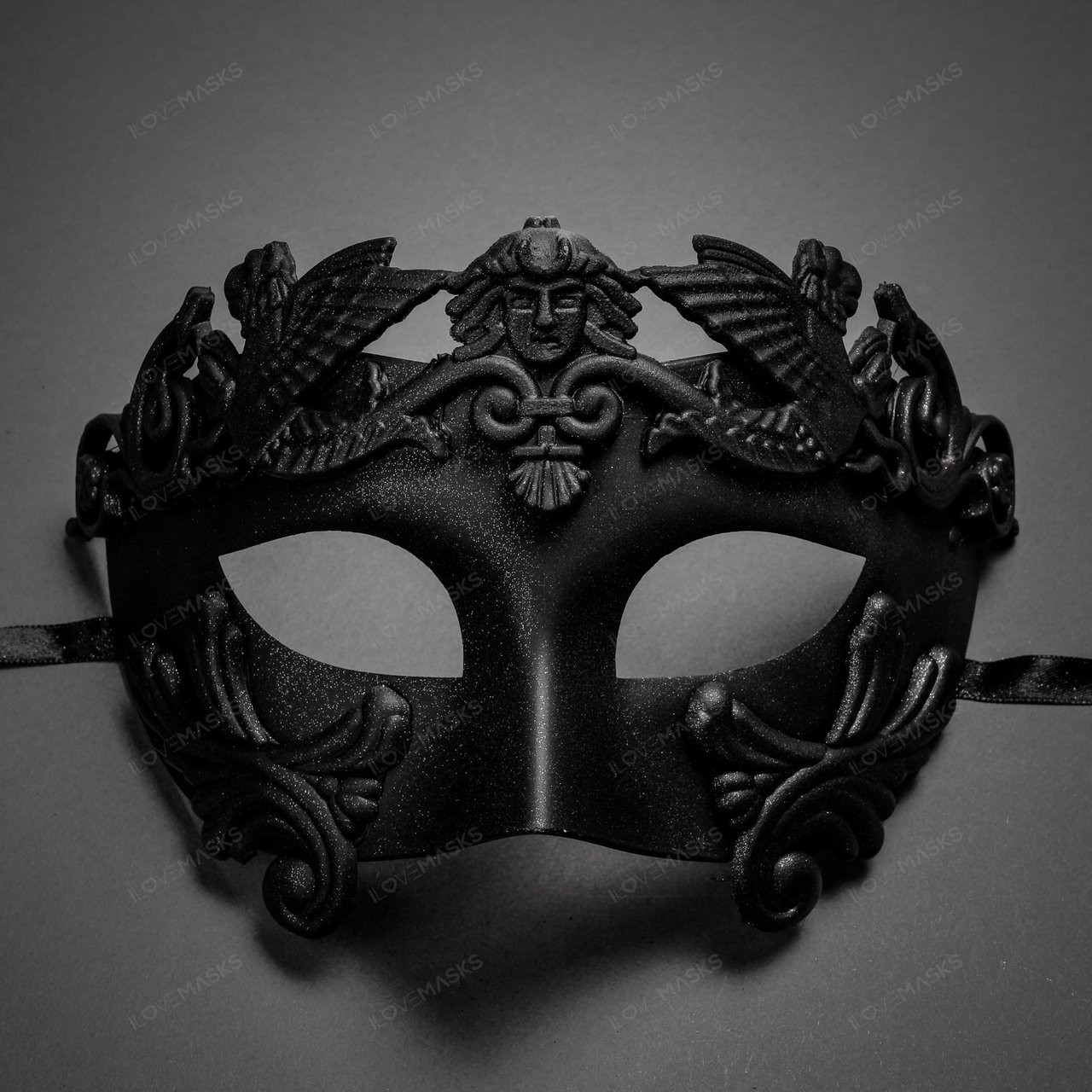 Roman Greek WARRIOR Emperor Venetian Masquerade Ball Party Mask Men Black Silver