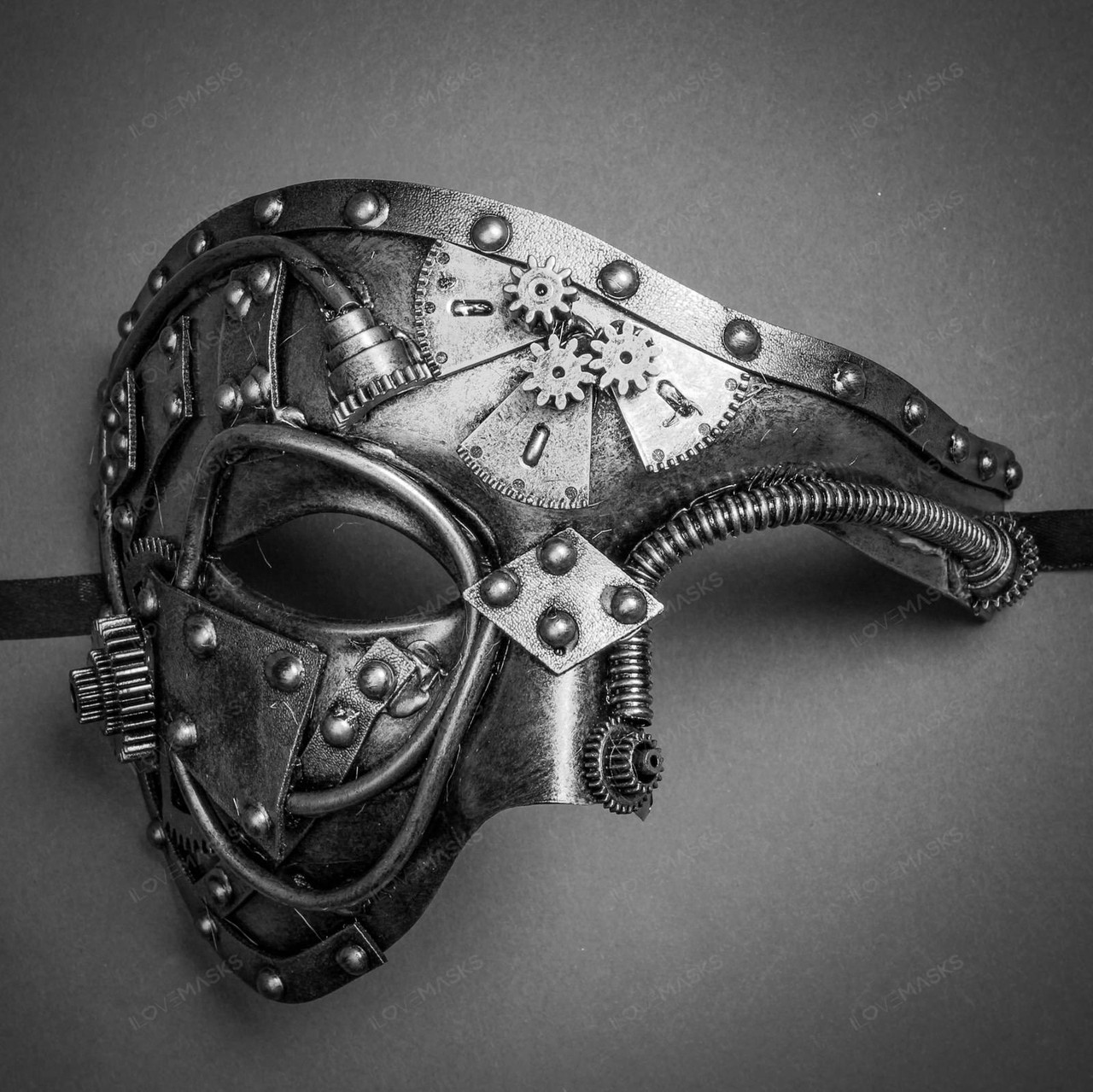 Masquerade Mask New Silver Steampunk Side Fan /& Spikes Goggle Halloween Costume