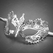 Charming Princess Venetian Masquerade Mask With Diamonds-Silver