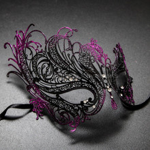 Black Purple Venetian Swan Party Masquerade Women Mask with Rhinestones - Left