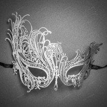 Venetian Swan Party Masquerade Mask with Rhinestones and Bling - Silver