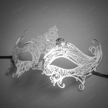 Royal Princess Venetian Masquerade Mask with Sparkling Diamonds-Silver