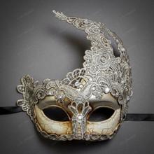 Women Venetian Masquerade Lace Mask - Silver Grey