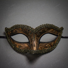 Crystal Glitter Venetian Women Masquerade Mask - Dark Gold