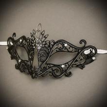 Venetian Masquerade Laser Cut Mask Silver Rhinestone - Black