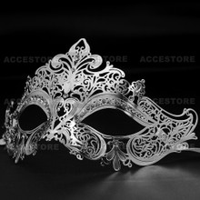 Party Queen Venetian Mask Sparkling Silver Rhinestone-Silver - 4