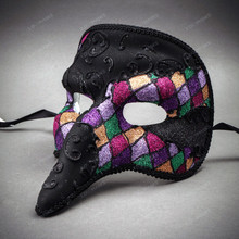 Long Nose Pantalone Venetian Masquerade Mask - Black Rainbow (side view)