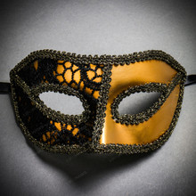 Lace Masquerade Mardi Gras Costume Mask-Gold Black