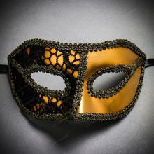 Lace Masquerade Mardi Gras Costume Mask-Gold Black