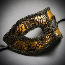 Lace Masquerade Mardi Gras Costume Mask-Gold