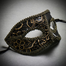 Lace Masquerade Mardi Gras Costume Mask-Black Gold