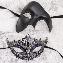 Black Full Face Phantom and Black Blue Princess Mask for Couple