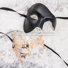 Black Full Face Phantom and Gold Silver Phantom Mask for Couple