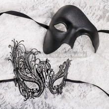 Black Full Face Phantom and Black Silver Swan Mask for Couple