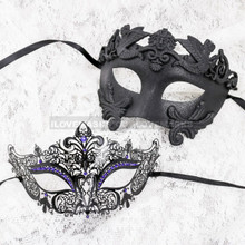 Black Full Face Roman and Black Blue Princess Mask for Couple