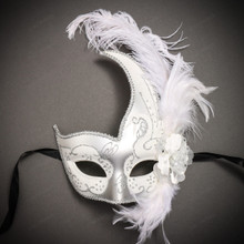 Masquerade Side Feather Glitter Venetian Costume Prom Mask-White