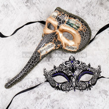 Gold Black Musical Venetian Long Nose and Black Blue Princess Mask for Couple