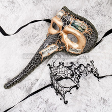 Gold Black Musical Venetian Long Nose and Black Silver Phantom Mask for Couple