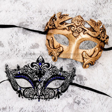 Gold Metallic Full Face Roman and Black Blue Princess Mask for Couple