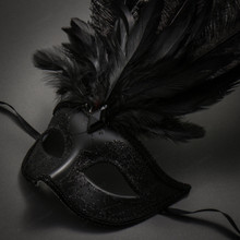 Masquerade Ostrich Tall Feather Venetian Glitter Party Mask-Black - 2