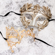 Silver Metallic Full Face Roman and Gold Silver Phantom Mask for Couple
