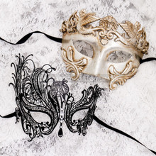 Silver Metallic Full Face Roman and Black Silver Swan Mask for Couple