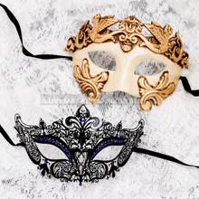 White Gold Full Face Roman and Black Blue Princess Mask for Couple