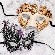 White Gold Full Face Roman and Black Purple Swan Mask for Couple