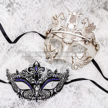 Silver Full Face Venetian Pegasus Horse and Black Blue Princess Mask for Couple