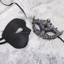 Black Half Face Phantom and Black Blue Princess Mask for Couple