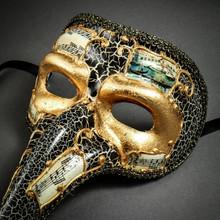 Musical Venetian Mardi Gras Men Long Nose Zanni Mask - Gold Black