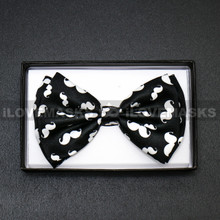 Bow Tie - White Mustache / Black