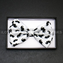 Bow Tie - Black Mustache / White