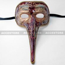 Musical Venetian Mardi Gras Men Nose Mask-Gold Red - 2