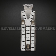 Suspenders - Black Mustache / White