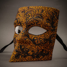 Bauta Mask With Black Glitter Venetian Mask-Yellow Leopard