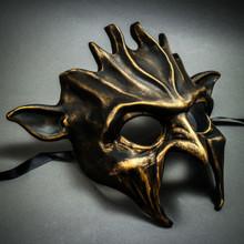 Fire Flame Demon Metallic Masquerade Mask - Black Gold