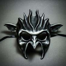 Fire Flame Demon Metallic Masquerade Mask - Black Silver