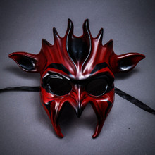 Fire Flame Demon Masquerade Mask - Red Black