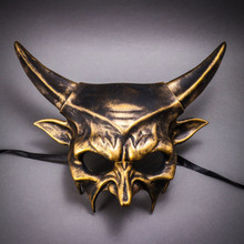 Demon Masquerade Devil Metallic Mask - Black Gold