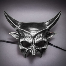 Demon Masquerade Devil Metallic Mask - Black Silver